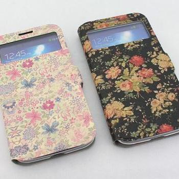 sale retailer 504f0 29b74 Samsung S4 Case For Girls Flower Printing PU Leather Samsung Galaxy ...