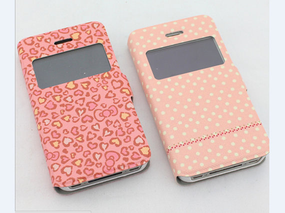 huge selection of 7fd2c cd435 Dot Cute IPhone 4s Phone Case ,Unique IPhone 4 Flip Case Hearts Printing  IPhone 4s Flip Case, Cute IPhone 4 Case ,iphone 4/ 4s Otterbox